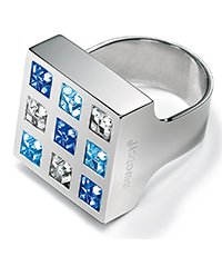 JRS022-5 Prismatic Blue Crystals Ring
